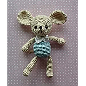 Häkeltier Kuscheltier Mäuschen creme/blau aus Bio-Baumwolle 21 cm Handarbeit