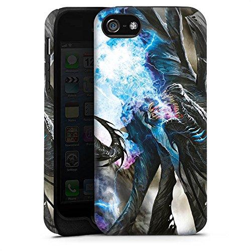 Apple iPhone 5s Housse Étui Protection Coque Dragon Glace Glace Cas Tough terne