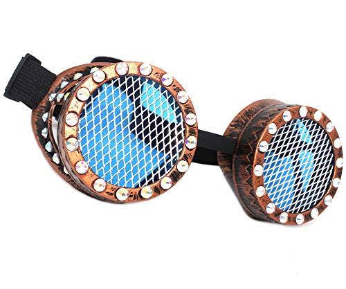 MFAZ Morefaz Ltd Welding Cyber Goggles Schutzbrille Schweißen Sonnenbrille Steampunk Goth Round Cosplay Brille Diamond Kaleidoscope (Copper Grid)