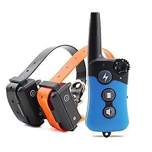 Chucalyn Collier de dressage de chien, rechargeable et imperméable à l'eau électronique de chien d'entraîneur de collier de fonctionnement de collier avec le mode/Light de tonalité/vibration, facile à former-tous les chiens de taille
