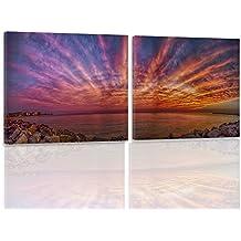 Feeby. Leinwandbild Bilder Wand Bild - 2 Teile - 140x70 cm, quadratische Form Wandbilder Kunstdruck, MERR, KÜSTE, NATUR, VIOLETT
