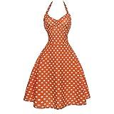 SANFASHION Damen Kleider,2019 Neckholder Rockabilly 1950er Polka Dots Abendkleid Vintage Retro Cocktailkleid Petticoat Faltenrock