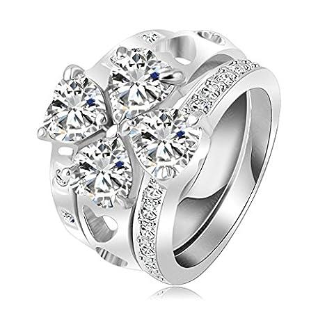 Aooaz Schmuck Damen Ring 18K Gold Vergoldet 3 Stapelbare Herz Zirkonia Hochzeit Ringe Verlobung Ringe für Frauen Rose Gold Größe 53(16.9)