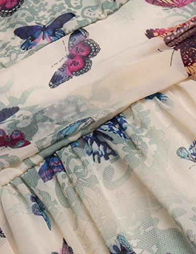 cooshional Femmes Robe Décontracté Col V Profond Longues Sans Manches A-Line Robe En Mousseline De Soie Plissée Avec Doublure Vert