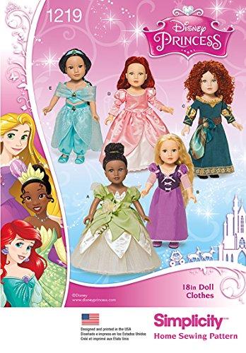 Simplicity 1219Größe OS Disney Princess 18Puppenkleider Schnittmuster, (Kostüm Prinzessin Disney Frosch)