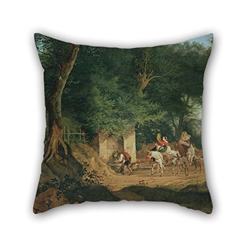 Loveloveu Oil Painting Ludwig Richter - Waldbrunnen Bei Ariccia Pillow Cases 18 X 18 Inches / 45 By 45 Cm Gift Or Decor For Study Room,bench,couch,car,birthday,kids Boys - Each Side