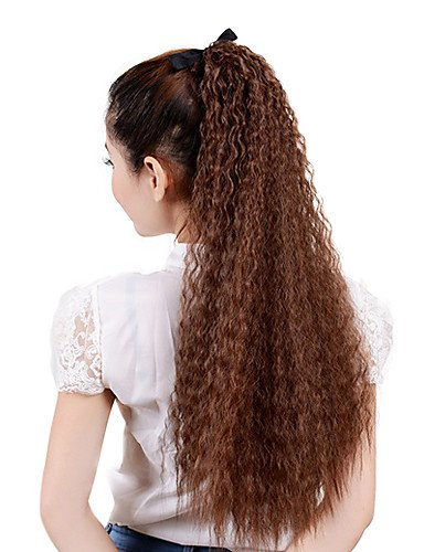 28 cm de ruban attaché lumière synthétique Brown ondulées Ponytail Hair Extensions