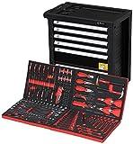 F-BD Black Red Edition | Werkzeugwagen * Werkstattwagen * 6 Schubladen / 4 gefüllt mit Werkzeug | Bit Sets, Ratschen, Nüsse und vieles mehr...