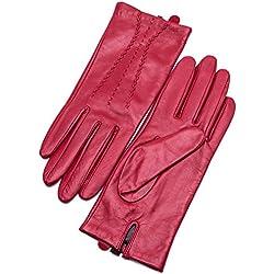YISEVEN Mujer pantalla táctil oveja guantes de piel Rot (Nicht-touchscreen) 18 cm/M