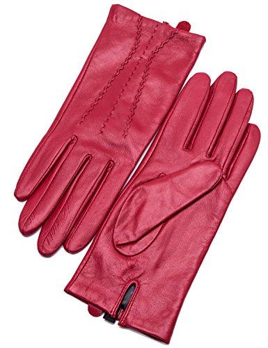 YISEVEN Guanti in pelle di vitello touchscreen donne tre punti mano vera lana calda fodera per inverno moto guida vestito lavoro regali, rosso medio