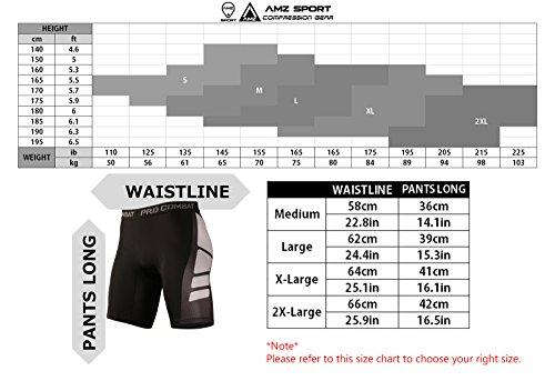 AMZSPORT Herren Fitness Hose Pro Cool Compression Tights Shorts Funktionswäsche Pants SCHWARZ-WEISS