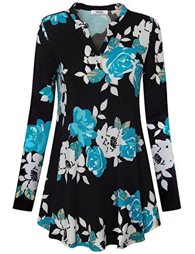 A Linie Tops für Frauen, Youtalia Damen Freizeit Langarm V-Ausschnitt Ethno-Stil Floral Bedruckte Kleider Gewellter Saum Leggings Tunika Bluse (Schwarz Grün,Größe S) (Floral Grün Leggings)
