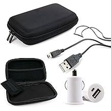 DURAGADGET KIT Estuche / Funda Rígida Para Navegador GPS + Adaptador / Cargador Mechero Coche Con Puerto USB + Cable MiniUSB-USB