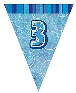 Unique Party Banderines de 3 cumpleaños Color azul edad 3 92143