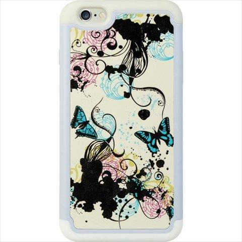 DreamWireless Apple iPhone 6Plus Hybrid-Fall Weiß Haut mit PC --Tragetasche-Retail Verpackung-Blau/Schwarz Schmetterling