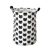 Inwagui Baumwolle Wäschesammler Klapp-Runde Wäschetruhe Haushalt Organizer Korb Wäschebox Kinderzimmer Badezimmer - Weiße Katze A
