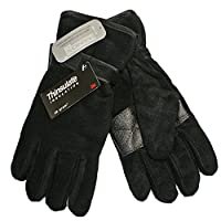 Mens Fleece Thermal Thinsulate Lined Gloves with Palm Grip Black