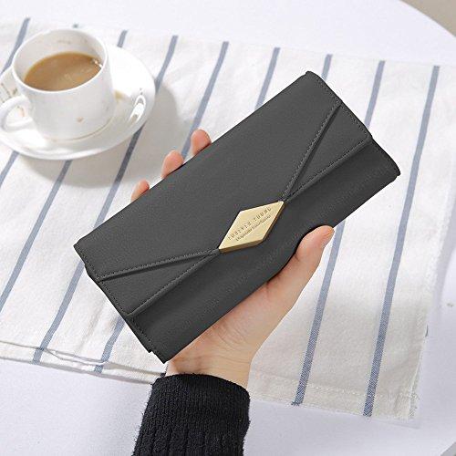 Damen Geldbörse Portemonnaie PU Leder Kreditkarte Halter Lang Handy Geldbeutel Frauen mit Druckknopf Brieftasche