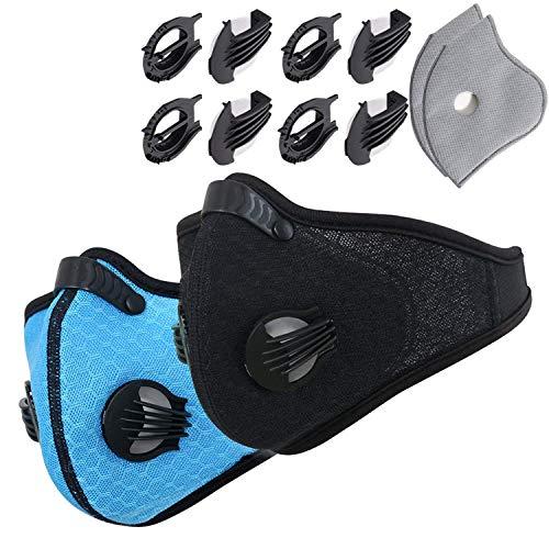 ABREOME Maschera Respiratoria Sport Allenamento Ciclismo Maschera Antipolvere Carbone Attivo Maschera per Allergie, PM2.5, Corsa, Ciclismo, Attività All'aria Aperta, Nera & Blu ,2 pcs