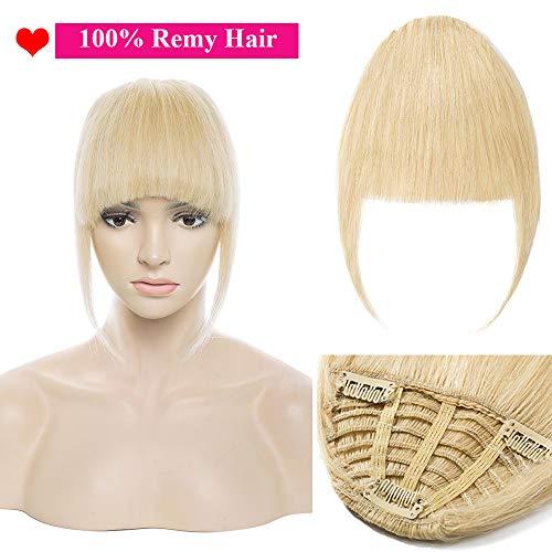 Extension frangia clip capelli veri umani lisci naturali fascia unica 25g 100% remy human hair hair bang [#613 biondo decolorante]
