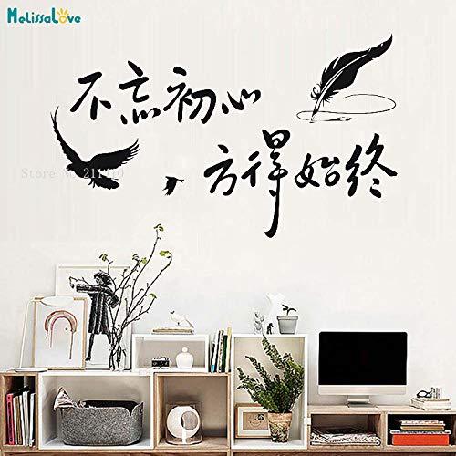 zhuziji Chinesische Wandaufkleber Vergessen Sie nie, Warum Sie angefangen haben und Ihre Mission erfüllt Werden kann Home Decor Removable Art Mural schwarz 71x42cm -