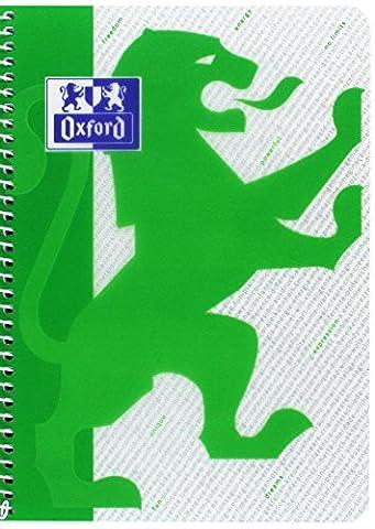 Oxford 938922 Cahier quadrille couverture plastique à spiral 80 feuilles