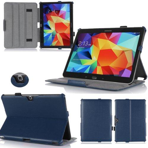 Ultra Slim Tasche Leder Samsung Galaxy Tab 4 10.1 (Wifi/3G/4G/LTE) Hülle blau Cover mit Stand - Zubehör Etui Tablet PC Samsung Galaxy Tab 4 10.1 zoll SM-T530/T535 Schutzhülle (PU Ledertasche) - XEPTIO : Exceptional Case ! Vorbestellen