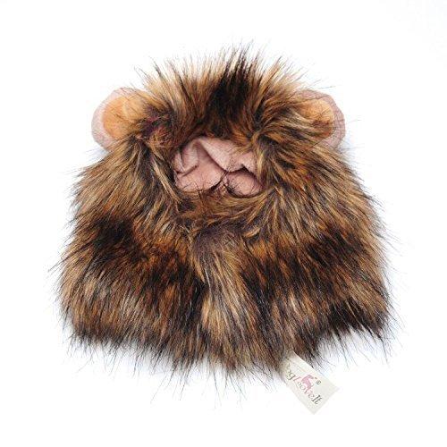 Stonges Disfraz de mascota Lion Mane Peluca para perro Gato Disfrazarse de Halloween con orejas