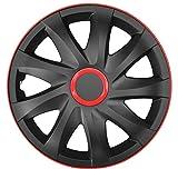 4-er Set Radkappen Radzierblenden Kando Race 13 Zoll 13'' schwarz rot black red
