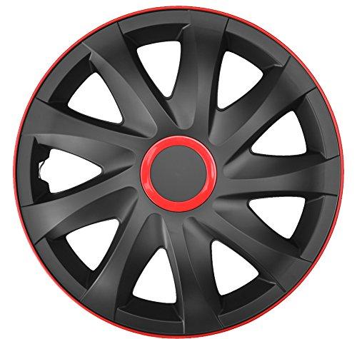 4-er Set Radkappen Radzierblenden Kando Race 13 Zoll 13'' schwarz rot black red - Rote Und Felgen Schwarze