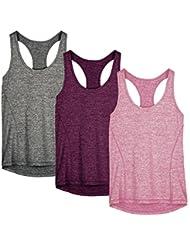 icyzone Damen Sporttop Yoga Tank Top Ringerrücken Oberteil Laufen Fitness Funktions Shirt