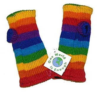 Hand knitted Fleece Lined Fair Trade 100% Wool Rainbow Coloured Wrist Warmers / Arm Warmers (Wristies)