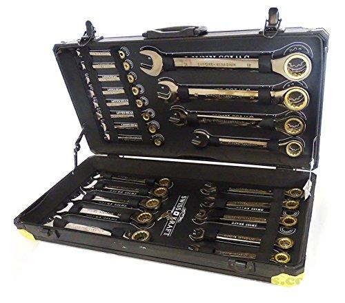 Preisvergleich Produktbild Ratschenringschlüssel Set 22 Teilig - 6 – 32 mm - Ratschenschlüsselsatz - Knarrenschlüssel - Maulschlüssel - Ringschlüssel - Ringmaulschlüssel