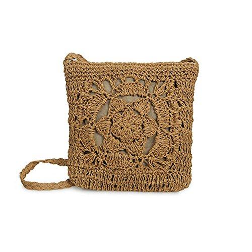 Häkeln Handtasche (Purebesi Handarbeit häkeln Tasche, gestrickte Tasche Blume Strand Aufbewahrungstasche für Damenmode gewebt Cross-Body Tasche)