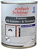 Premium PU Türen und Fensterlack weiss inkl. Pinsel von E-Com24 zum Auftragen und 1 Paar Nitrilhandschuhe (PU 750 ml glänzend)