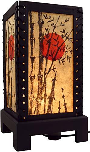 Guru-Shop Transparente Deko Tischleuchte aus Holz & Handgeschöpftem Papier - Bambus/gelb, MDF, 36x18x18 cm, Bali Tischleuchten