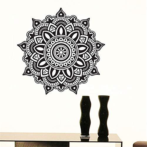 yiyiyaya Mandala Indische Muster Wandaufkleber PVC Selbstklebende Wohnkultur Heißer wasserdichte Blume Wandtattoos grau 30x30 cm