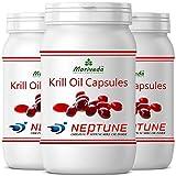 Olio di krill capsule 270, premio olio NEPTUNE puro al 100% - omega 3,6,9 astaxantina, fosfolipidi, colina, vitamina E - qualità del marchio di MoriVeda (3x90)