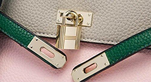 Fabelhaft Mode-Verschluss-Handtasche Litchi Muster-Schulter-Beutel Powdergreenash-small