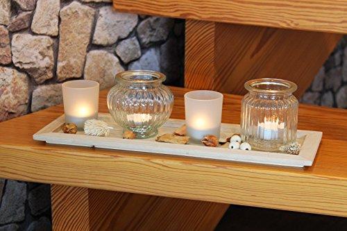 * * * plus beau et toller Set–Photophore–LED sur bois massif–Plateau avec 4photophores en verre et belle décoration, décoratif pour jardin, terrasse, barbecue Party parfaite, balcon, salon et chambre * * *
