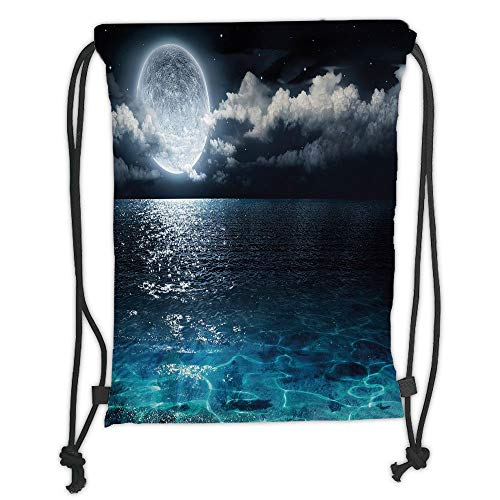 Drawstring Backpacks Bags,Night Sky,Full Moon and Foggy Clouds with Turquoise Glass Like Sea Ocean Print,Dark Blue and White Soft Satin,5 Liter Capacity,Adjustable String Closure,T (Milk Glass Moon)