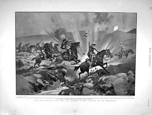 original old antique victorian print Guerre 1901 de Seigneur Kitchener Scouts Long Tom Transvaal par original old antique victorian print