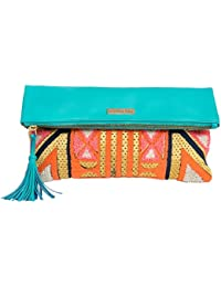 Chumbak Synthetic Carnival Tent Foldover Clutch (Mint Blue)