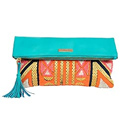 Chumbak Carnival Tent Embroidered Clutch - Mint