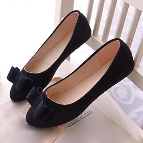Rcool Frauen Ballett Schuhe Arbeit Flats Fliege Slip Schuhe Boot Komfortable Schuhe Schwarz