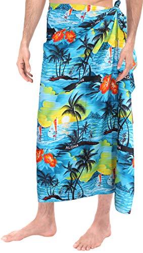 LA LEELA Coverup Badeanzug Männer Wickeln Schwimmen Badeanzug Pareo Sarong Aloha Bademoden blau