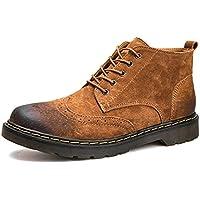 El británico Martin British retro de cuero de los hombres de cuero Zapatos Botas Botas,Brown,Cuarenta y uno