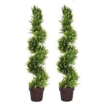 GreenBrokers 19805 Artificial Spiral Cedar Conifer Trees 4ft/120cm-Best Quality (Set of 2), Green, 30x30x120 cm