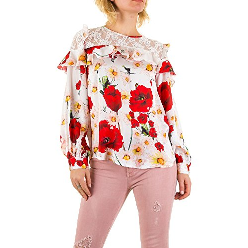 Gemusterte Spitzen Bluse Für Damen bei Ital-Design Weiß
