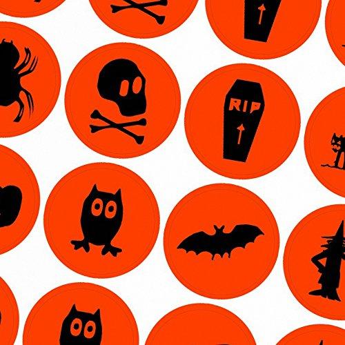 / Aufkleber / Sticker / 48 Stück / Verschiedene Motive / Dekorieren / Farbe Orange / Selbstklebend / Rund (Halloween Fledermaus-dekorationen Basteln)